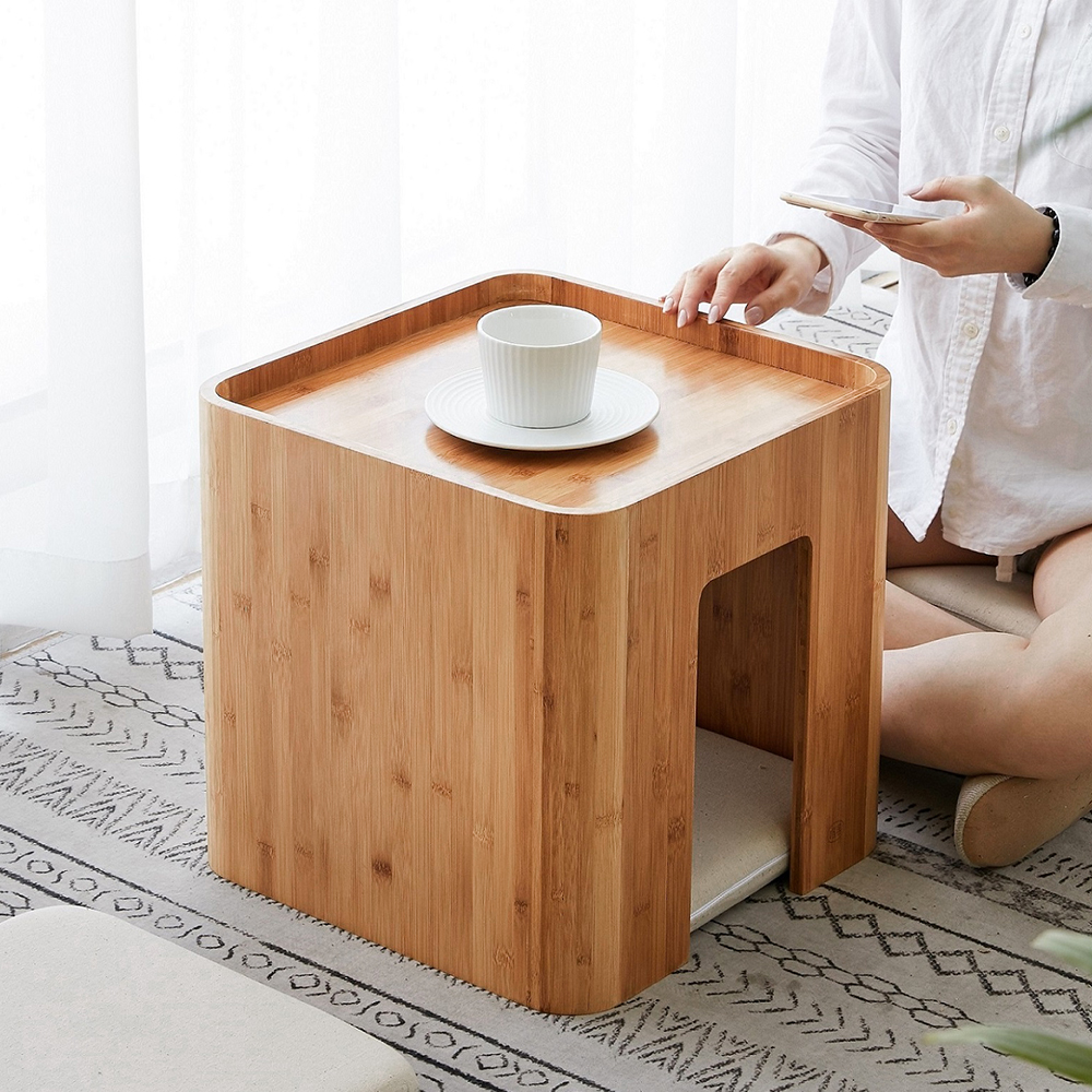 Bamboo Stool Muti Function Tea Table With 4 Cushion Coffee Table Tatami Changing Stool Living Room Funiture