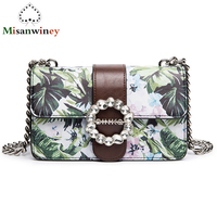 Vintage Style Women Chain Bag Elegant Tropical Rain Forest Green Printed Shoulder Bag Diamond Design Messenger