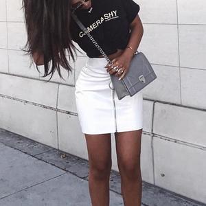 Image 4 - Seksowne spódnice damskie seksowna spódnica z wysokim stanem PU skóra jesień metalowa obręcz Zipper spódnica ołówkowa dopasowana spódnica Mini faldas mujer moda 2020