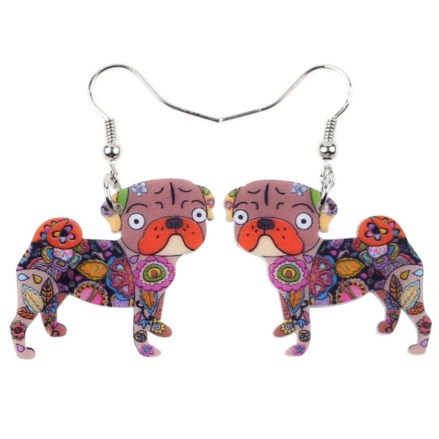 Cute Colorful Pug Patterned Earrings