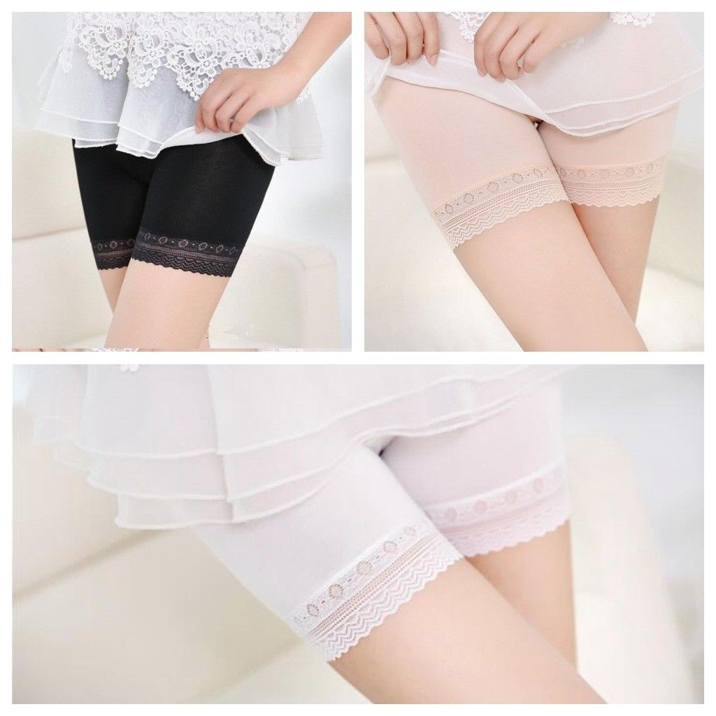 Women white/black/skin slim underwear soft cotton comfort lace safety short pants