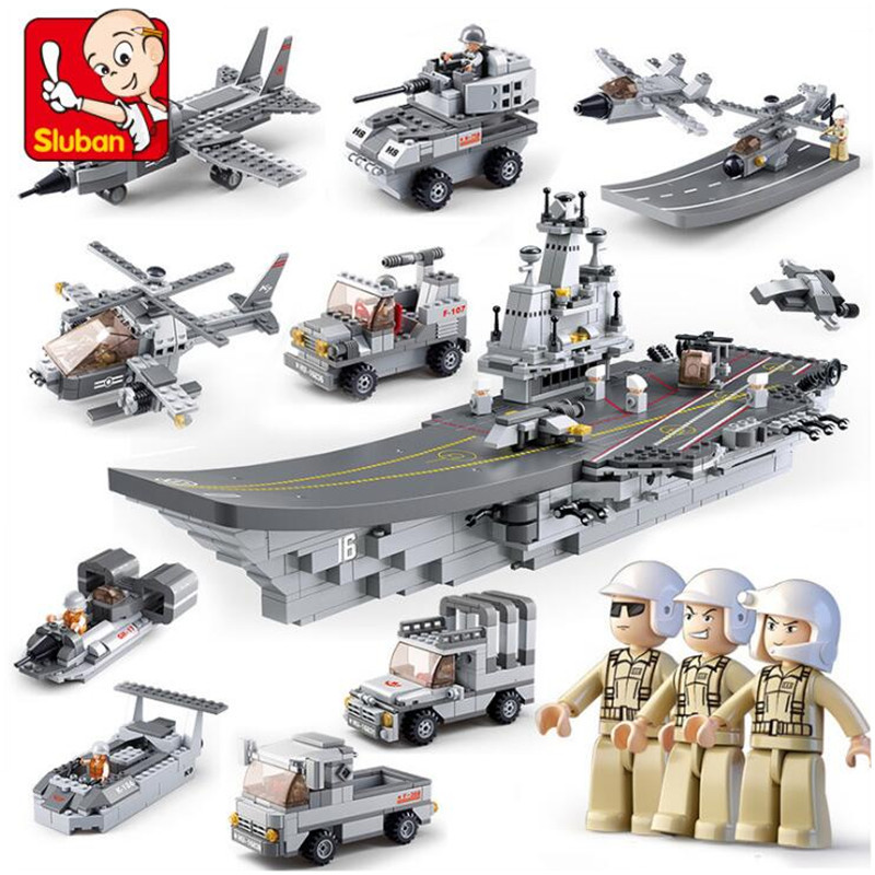 Military 9 IN 1 Aircraft Carriers Sea Air And Land Military Model Building Block Brick Toy Christmas Gift