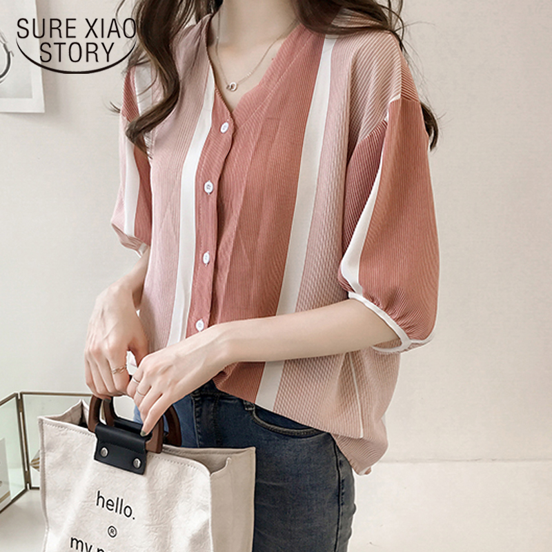 2018 new summer women tops fashion plus size button casual lady slim v-neck women clothing short sleeved blouses shirts 0637 40