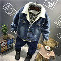 Korean boy fashion cashmere denim jacket  winter with thickened children's lamb wool denim jacket + pants two pieces set