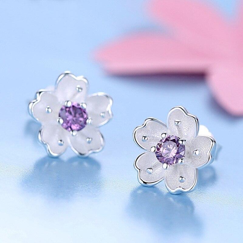de193b654d980 Buy 925 Sterling Silver Stud Earrings Women Flower Earrings Cubic ...