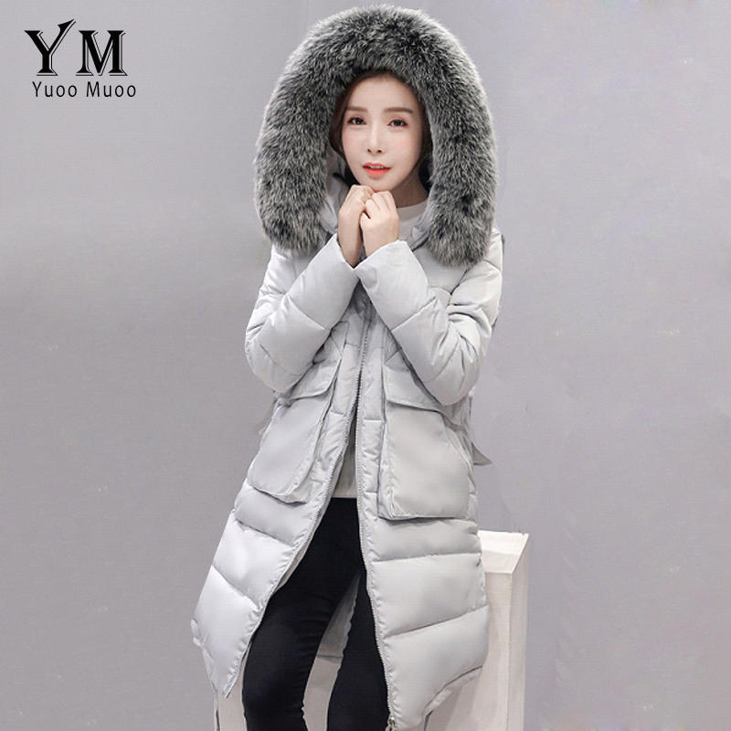 YuooMuoo New 2016 Plus Size Fur Collar Winter Coat Women Cotton Wadded Long Down Jacket Fashion Korean Style Parka Women Jacket 2016 new long down jacket for women winter coat parka solid coat fur collar woman casual plus size fashion slim casacos feminino
