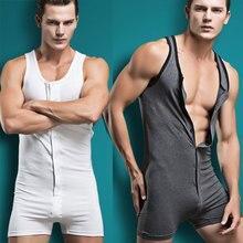 Sexy Hemd Mannen Bodysuit Body Katoen Lycar Man Jumpsuit Ontrukken Pak Hemdjes Strakke Shaper Jongen Exotische Club Jumpsuit