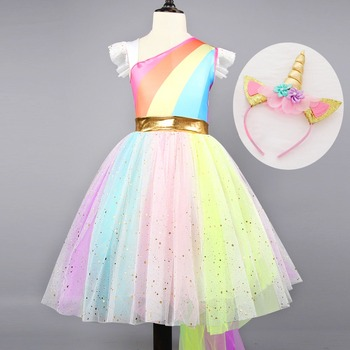 New Unicorn Party Dress Girls Kids Carnival Costume Children Rainbow Princess Tutu Dresses Girls Halloween Cosplay Fancy Dress carnival red bug halloween cosplay costume princess flower girl dress summer tutu wedding birthday party red bug kids dresses