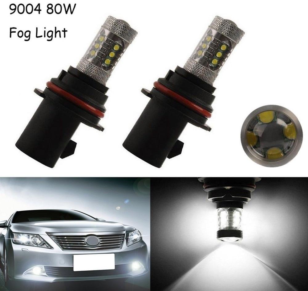 2X White 9004 80W HB1 High Power Car LED Light Bulb Low Beam Headlight Fog Light Fog Driving DRL super bright led auto headlamp h4 h7 h1 9005 h11 9004 hb1 high low adob beam turbo leds car headlight drl main light 6000k bulb