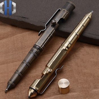 Brass Pen Manual Machine Gun Creative Retro Pure Copper Bamboo Section Pen Office Stationery High-end Gift Pen retro brass pen 0 5mm black ink hand made metal pen the tactical pen copper gift pen stylus private outdoor travel kit