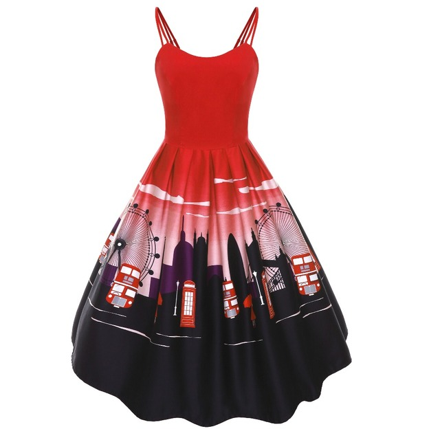 30 summer women vintage 50s pinup Ferris wheel sundress in red plus ...
