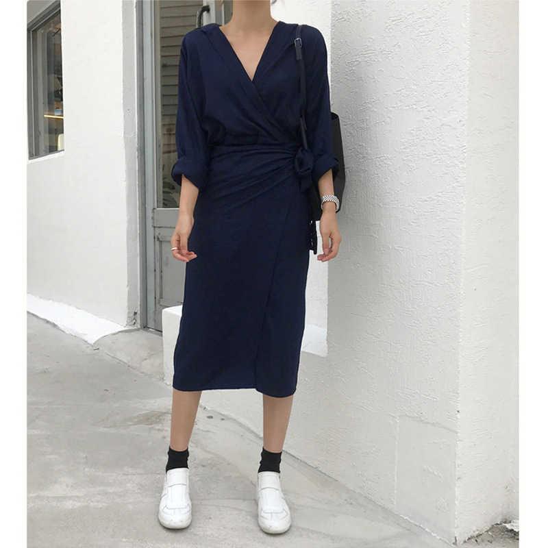 [EAM] 2020 nowa jesienno-zimowa dekolt z długim rękawem bandaż w talii luźne duże rozmiary sukienka z charakterem kobiety moda fala JU356