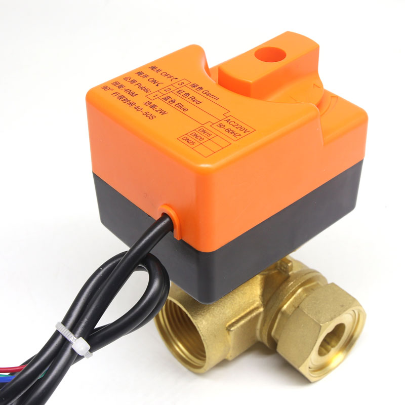 DN25(G 1) AC220V 3 way 3 wires electric actuator brass ball valve,Cold&hot water vapor/heat gas brass motorized ball valve dn50 ac220v electric actuator brass ball valve cold