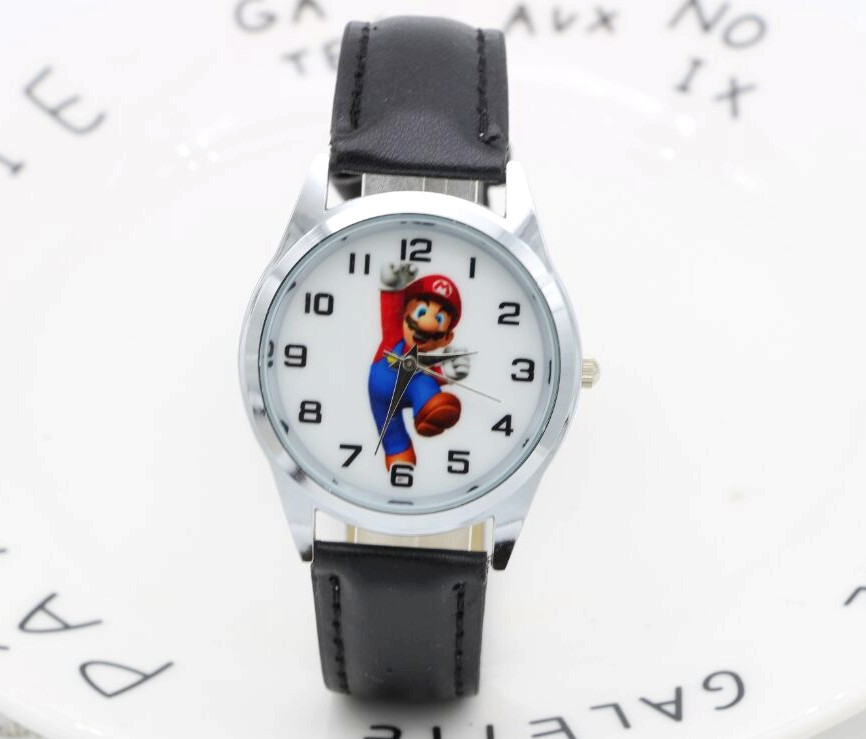 2017 New 1pcs Cartoon Super Mario Doll Kids Watch Children Kids Girls Boys Students Quartz Wristwatches.