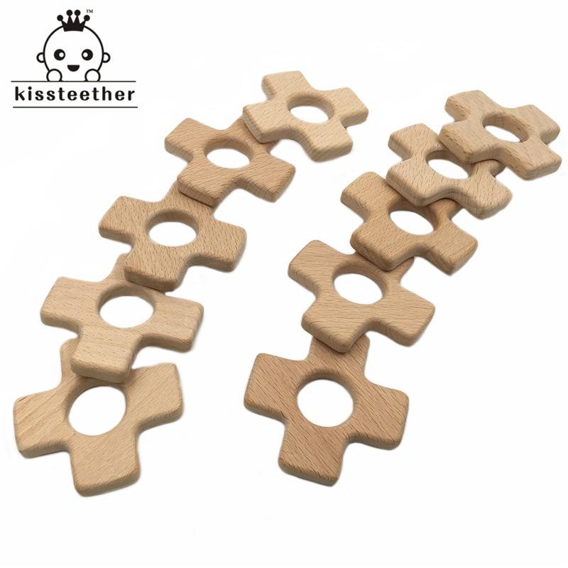 Ручной работы деревянный органических безопасных ребенка прорезыватель жира крест кулон органический Натуральный Бук деревянные игрушки ...