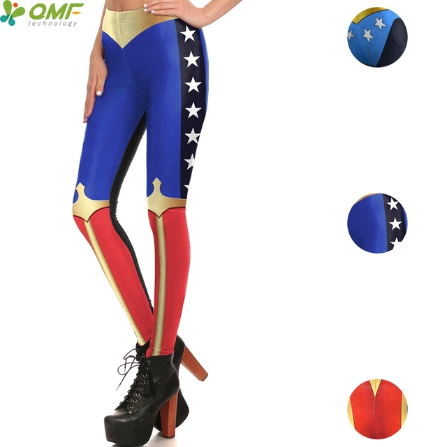 342815165fce8 Cosplay Wonder Woman Yoga Pants Costume Gym Fitness Tights Superhero Women  Cartoon Leggings Skinny Pencil Trousers Compression