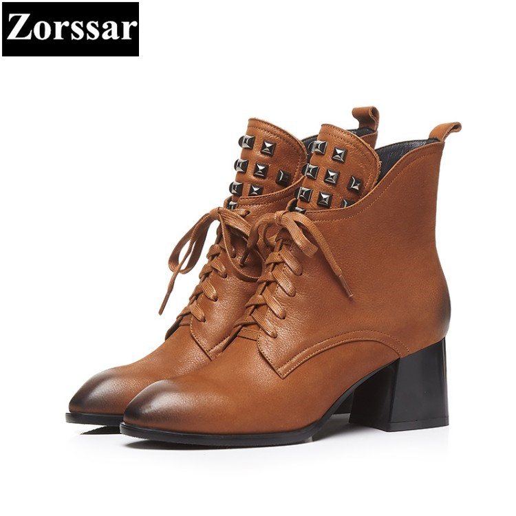 {Zorssar} 2018 NEW Large size Women Boots pointed Toe lace up High heels ankle Motorcycle boots Cow leather womens shoes winter pu serpentine lace up pointed toe womens flats