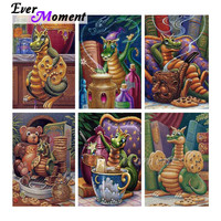 Ever Moment Diamond Painting Green Dragon Full Square Handmade 5D DIY Mosaic Diamond Embroidery Decoration For Home ASF1655
