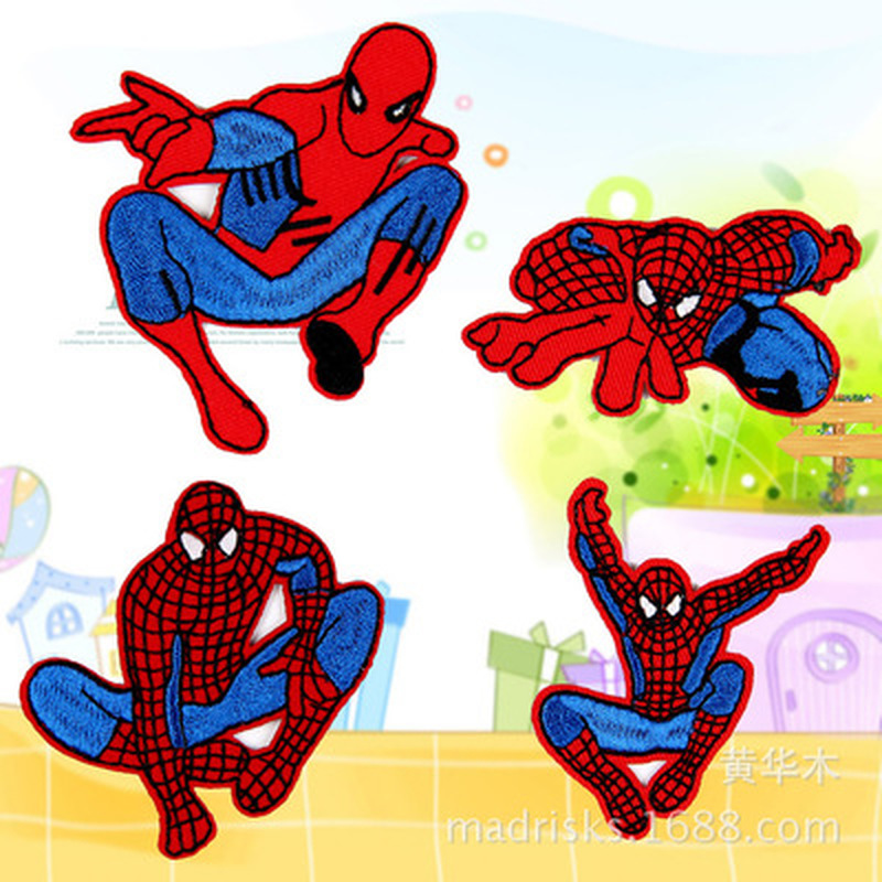 1pc Cartoon Fabric Clothing Accessories Pattern Patch Decoration Spiderman Embroidery Stitching Clothing Sewing Fabric