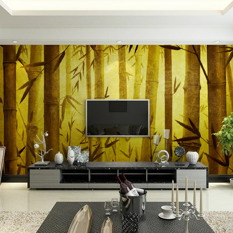 Vintage Wall Papers Painted Gold Bamboo Forest Photo Wallpaper Mural ...