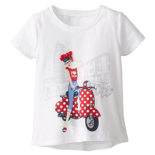 9feafac73 100% Cotton girls t-shirts white short sleeve t shirts children clothes  Kids tee motor Lady bike 1 2 3 4 5 6 Years Jumpers