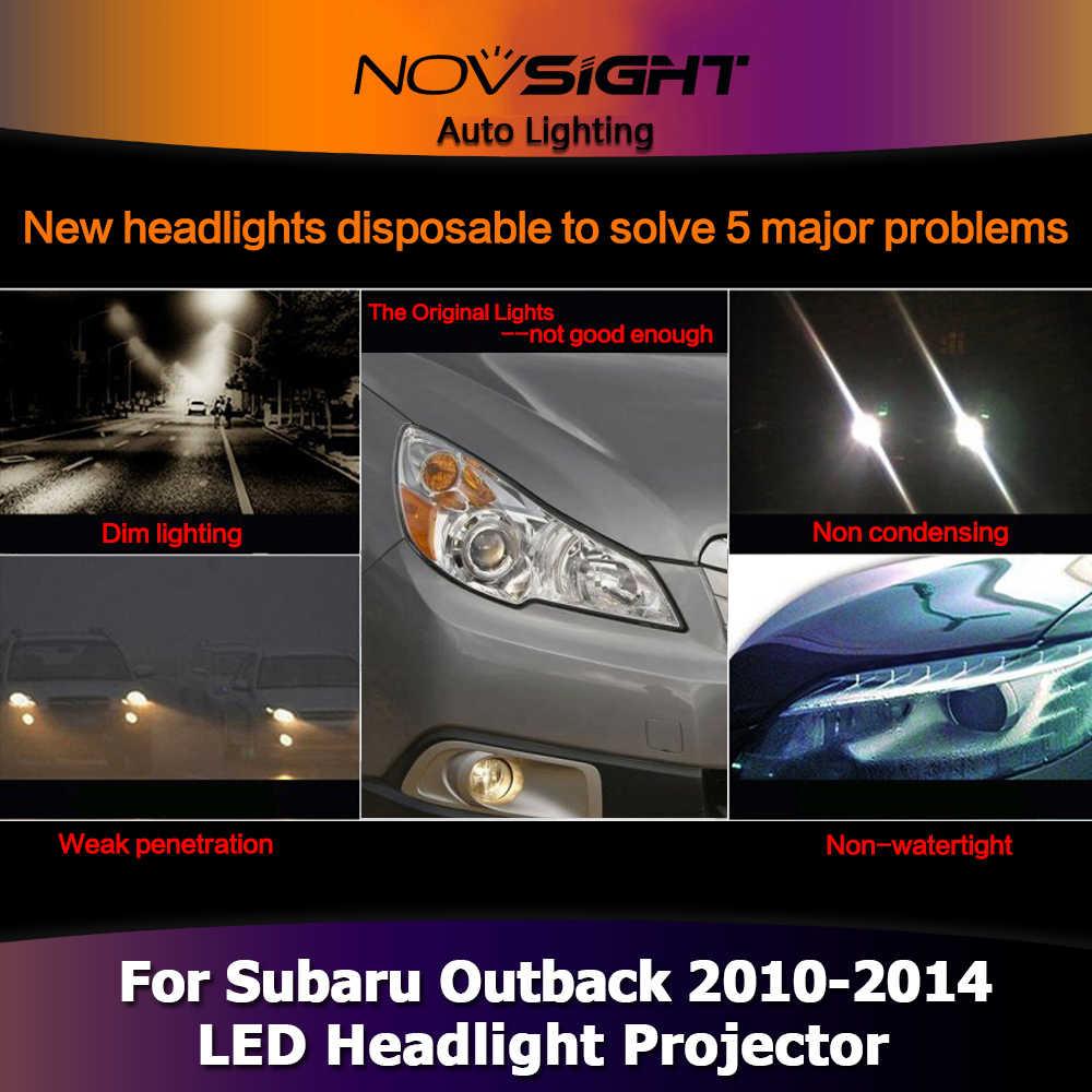 NOVSIGHT 2PCS רכב אור הרכבה מקרן קסנון פנס DRL ערפל אור LED עבור סובארו אאוטבק 2010-2011 2012 2013 2014
