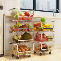 Multi layer Floor Fruit Vegetable Storage Basket Household Stainless Steel Bathroom Bedroom Toys Storage Rack Kitchen Organizer