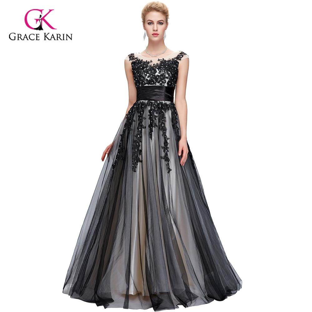 NºLong Evening Dress 2018 Grace Karin Cap Sleeve Tulle New Arrival ...