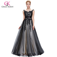 2016 Arabic Black Tulle Lace Long Evening Dresses With Cap Sleeves Grace Karin Long Formal Party