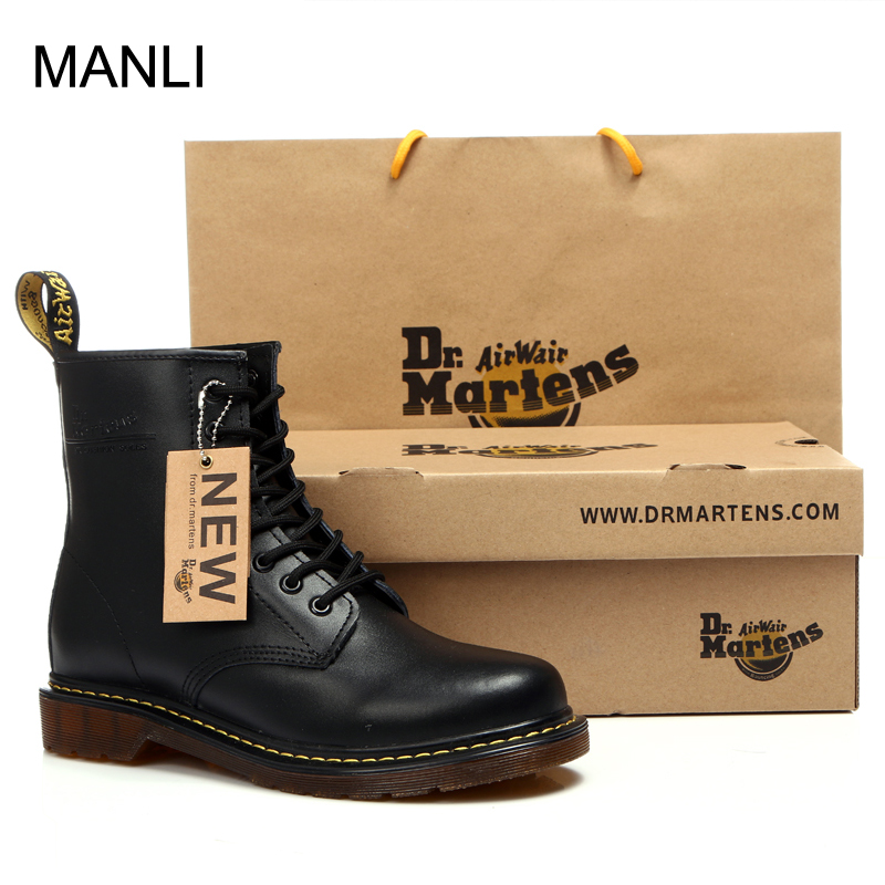 Genuine leather Men Boots Dr. Martens Winter Ankle Boots High Top Tactical Lace Up Shoes For Men Black Vintage Mens Hiking Shoes 2016 luxury brand mens high top flats shoes vintage full leather lace up ankle boots tialian handmade elegant mens formal shoes