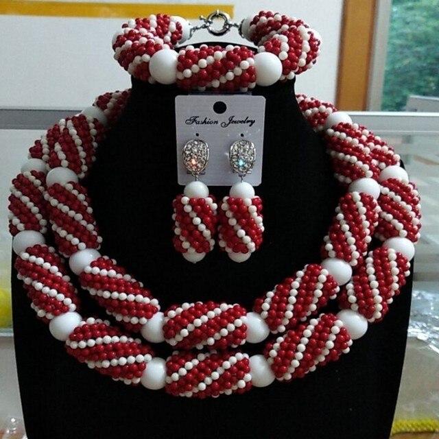 Wedding & Engagement Jewelry Set Wine and White Turkish Necklace Set Nigeria Set Jewelry Free Shipping Womens Jewellery 2018 New
