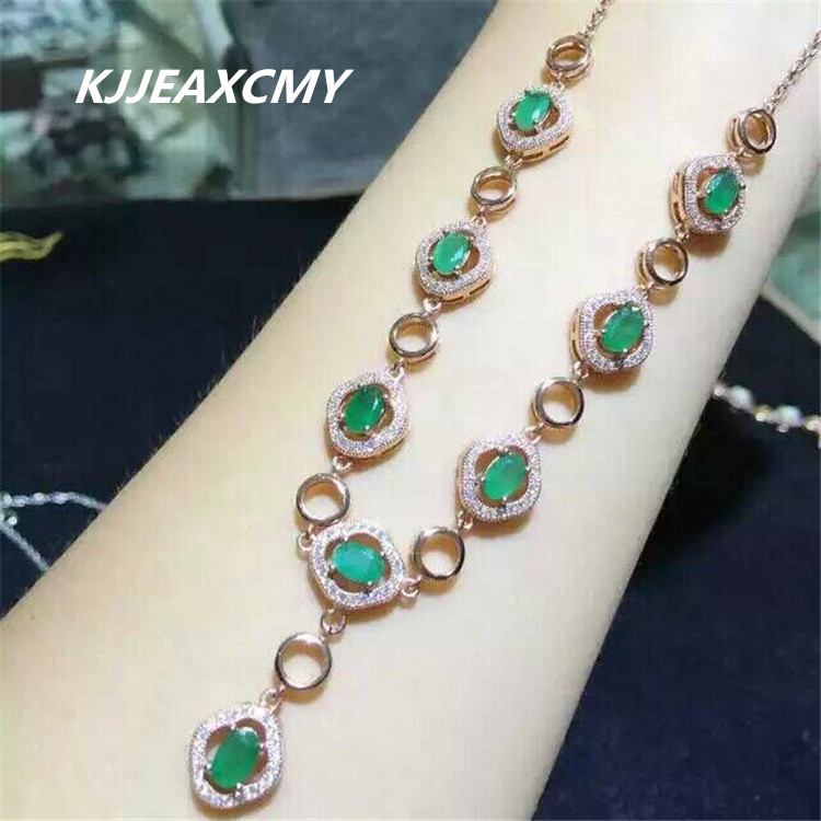 KJJEAXCMY boutique bijoux, femelle émeraude ligne chaîne incrustée bijoux en gros, S925 argent, pur argent processus de gros