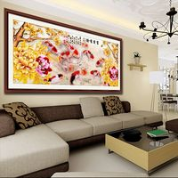 192*89cm Diy 5D gold fish wealth icons Diamond Painting Needlework Cross Stitch Diamond Embroidery Painting christmas gift 61184