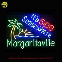Margaritaville It S 5 O Clock Neon Sign Neon Bulbs Room Recreation Glass Tube Handcraft Super