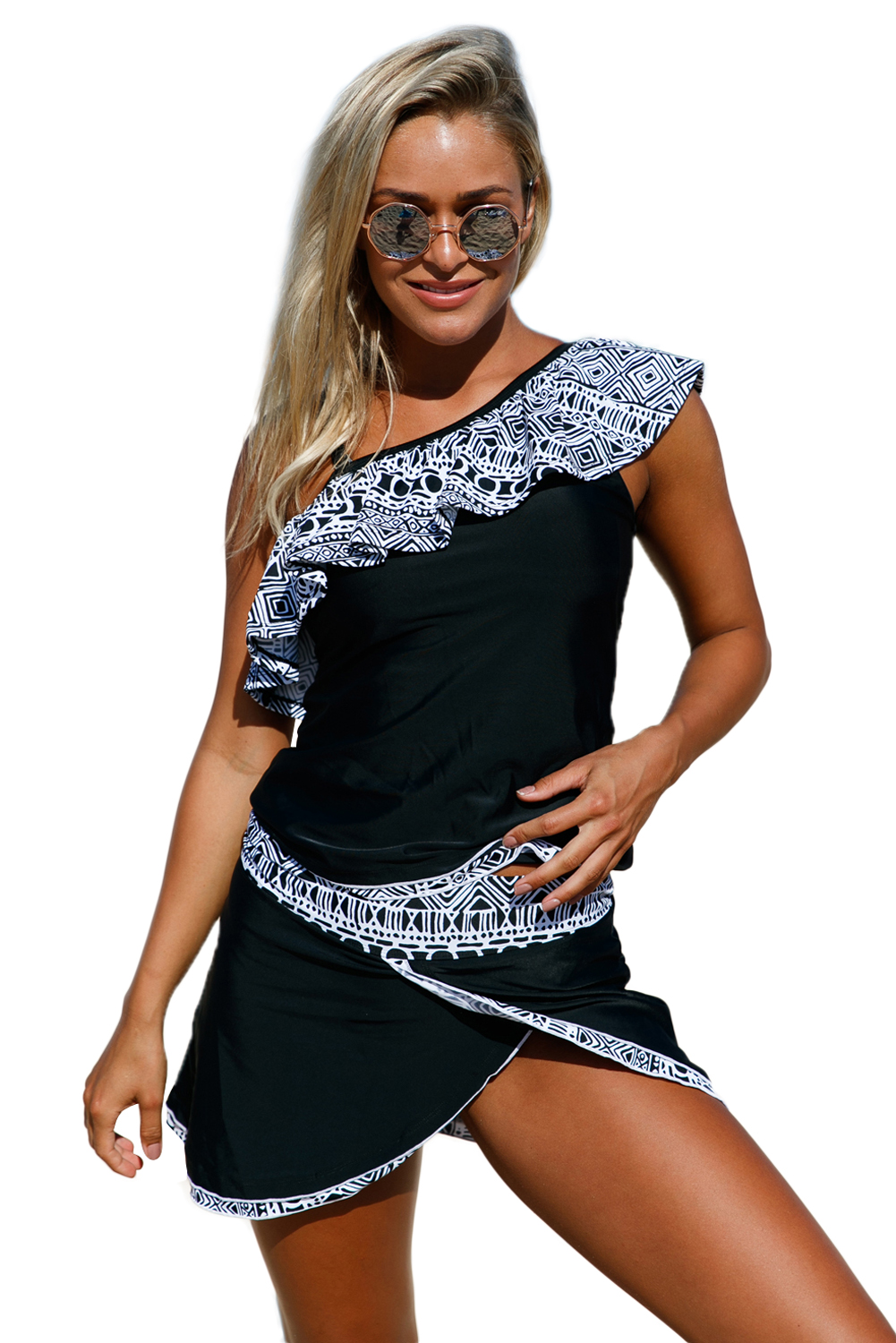 Sexy Women Ruffle One Shoulder Strap Swimsuit With Tankini Top And Skort Bottom Two Pieces Bathingsuit Beachwear Swimwear