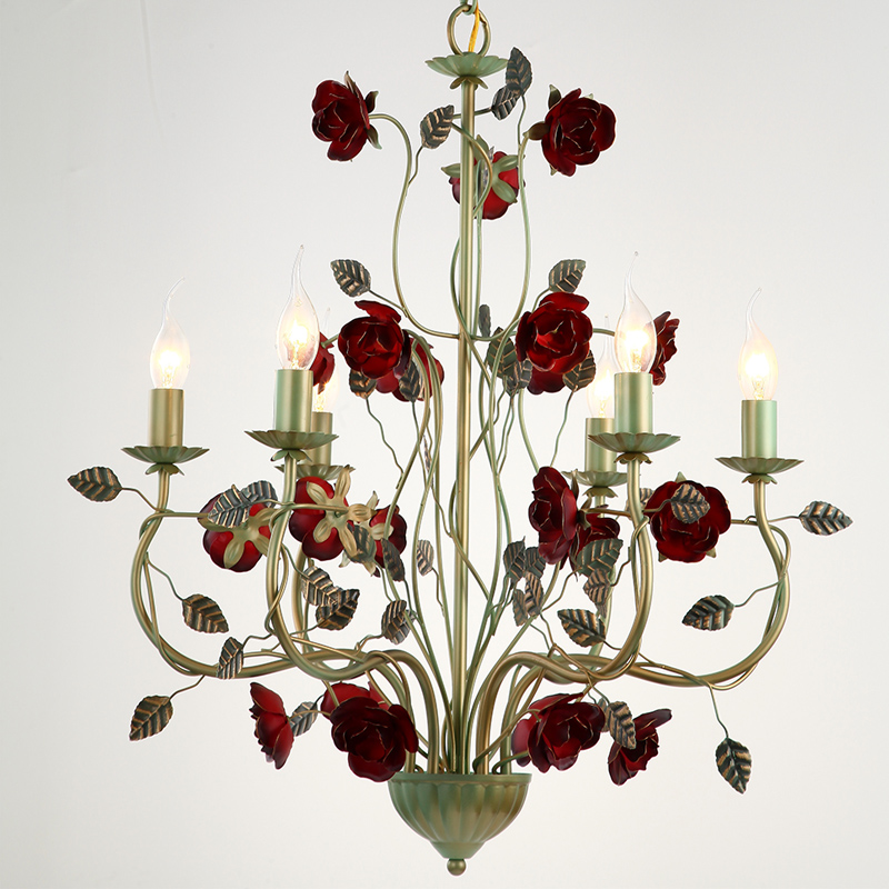 American style Iron Chandelier red rose romantic living room Princess Room bedroom hanging lamp 3/6 heads lamps lighting ZA90711 korean princess wrought lamp iron bedroom led lamp american pastoral style living room children chandelier