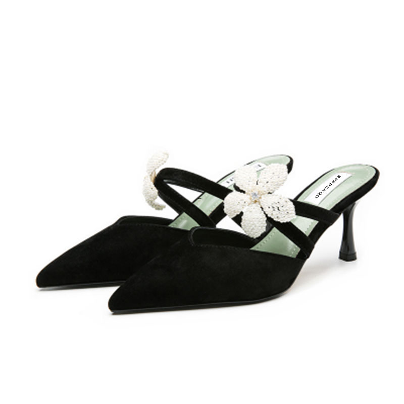 все цены на Thin Suede Women Pearl High Heels Shoes Pointed Toe Catwalk Flower Mules Slipper Rhinestone Sandals Strap Cool Pumps Crystal New