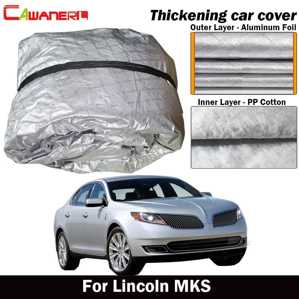 Cawanerl For Lincoln MKS Waterproof Car Cover Three Layer Material Outdoor Sun Shield Rain Snow Hail Dust Protection Cover