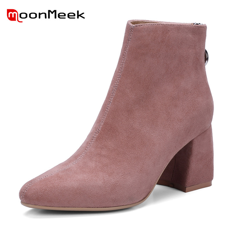 MoonMeek new arrive 2018 hot sale suede leather boots woman short plush ankle boots autumn winter boots ladies thick heel shoes hot sale short plush chew squeaky pet dog toy