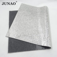 JUNAO 24x40cm Clear Crystal Mesh Hotfix Rhinestones Trim Square Glass Stones Applique Hot Fix Crystal Fabric Sheet for Jewelry