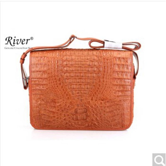 River Thailand Native Crocodile Leather Man Messenger Bag Back Skin Head Thai Caiman Alligator