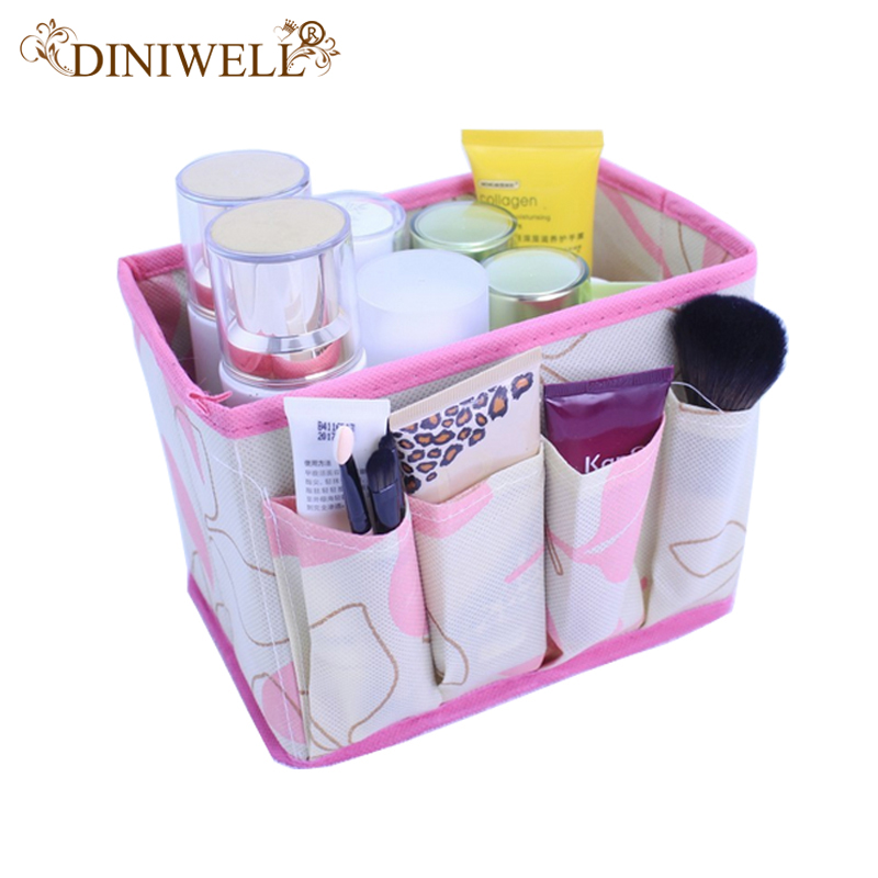 DINIWELL Home Office Desktop Decor Makeup Cosmetic Storage Box Bag Organiser Foldable Makeup Stationary Container
