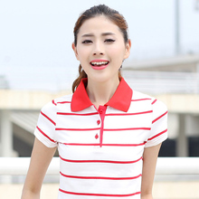 Striped Short-sleeved Golf T-shirt Female Spring Summer Plus Size Thin Cotton Loose Casual Sports Baseball Tennis Polo Shirts