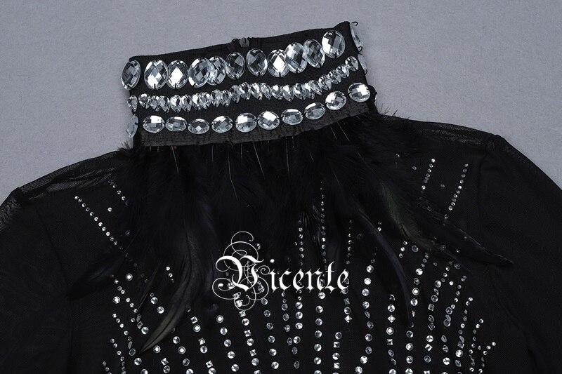 Celebrity 2019 Conception Maille Vicente Plume Club Robe Haut Nouveau Col Perles Longues Épissage Chic Noir Bandage Party Midi Manches 7XqXdHw
