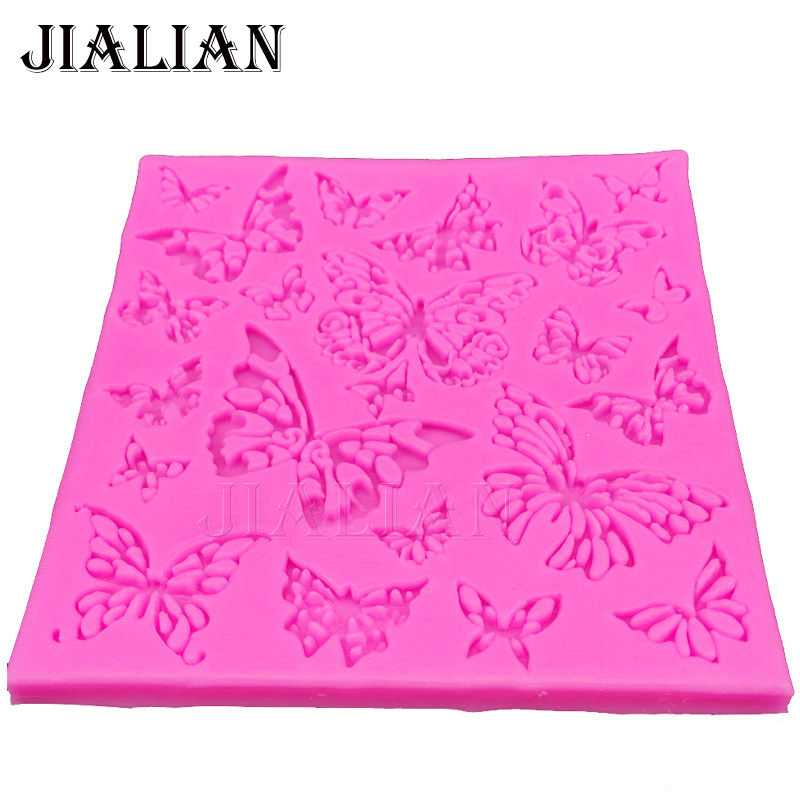 Beautiful butterfly Hollow Lace chocolate wedding cake decorating tools DIY baking fondant molde de silicone mold T0335 in Cake Molds from Home Garden