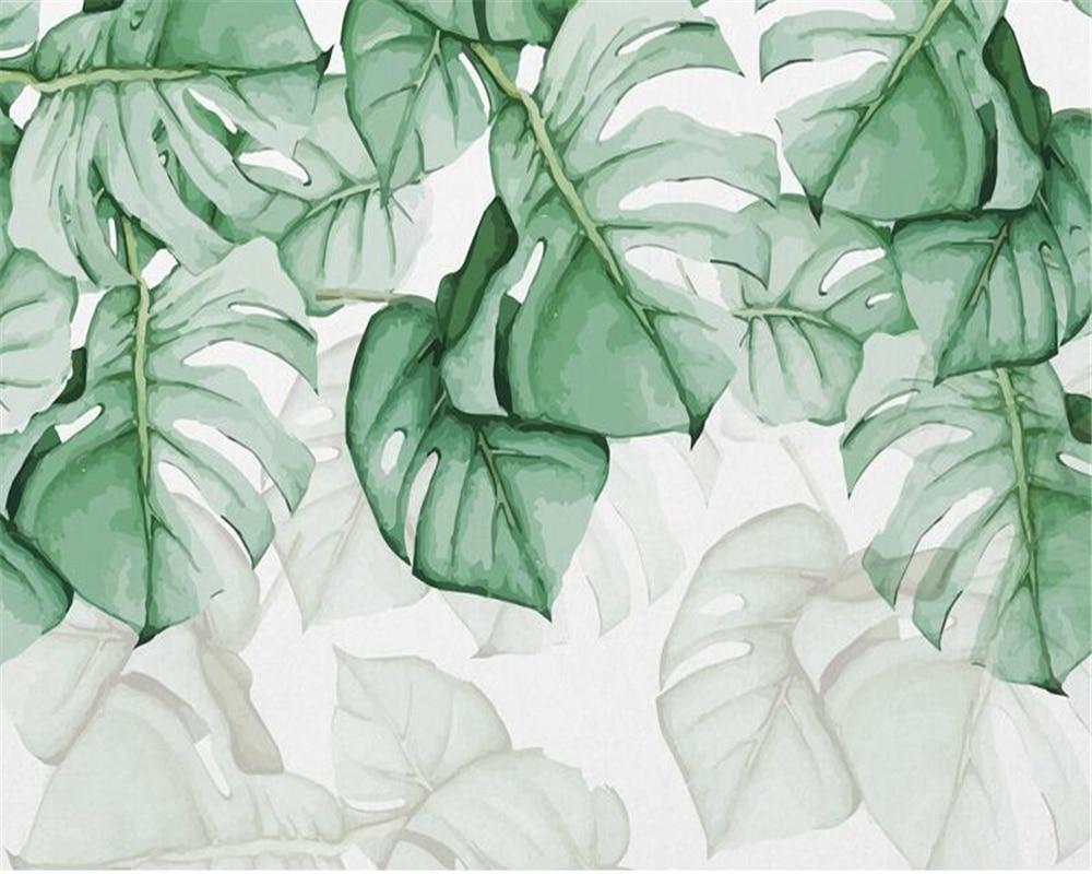 beibehang Custom wallpaper mural hand-painted leaves tropical plants living room sofa bedside background 3d wallpaper painting