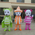 1pcs high quality striped Bear character EVA with Plush Mascot Costume in box via EMS.3 different color for select.