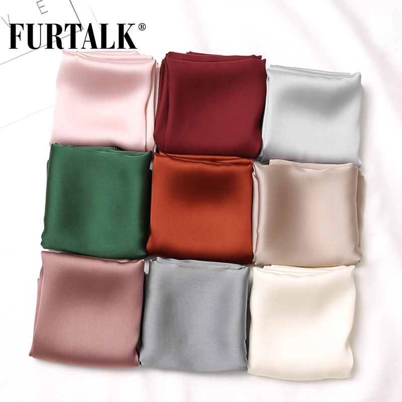 FURTALK 70*70cm Luxury Brand Bag Scarf Women's Silk Scarf Lady Square Hair Scarves Soft Head Shawls Pashmina Solid Color Bandana