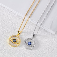 Blue Crystal Evil Eye Circle Necklace Protection Necklace – Silver, Gold
