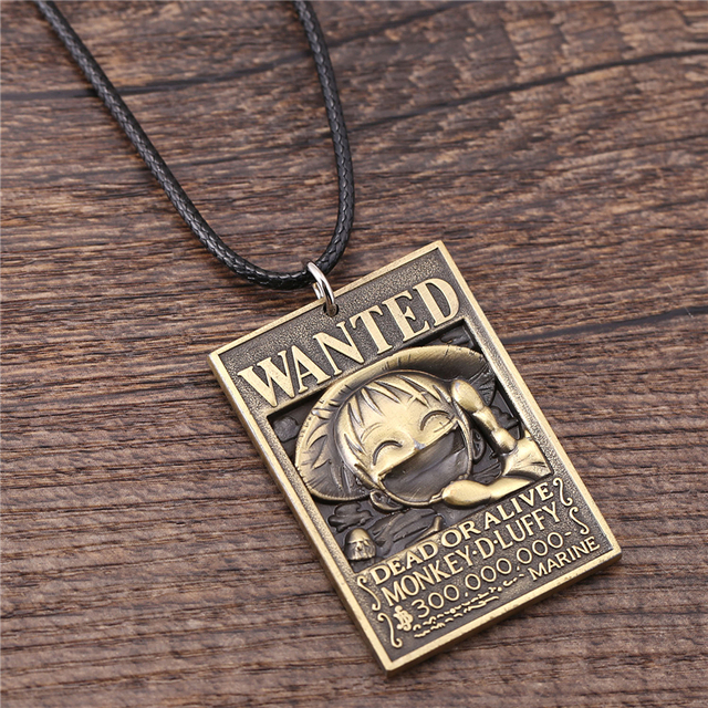 J Store 2 Colors One Piece Monkey D Luffy Wanted Warrant Square Tag Pendant Necklaces for Fans Cosplay Jewelry